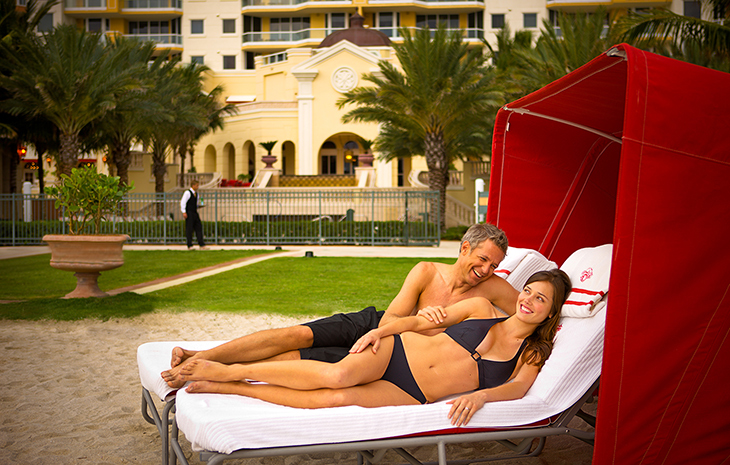 couple in red cabana