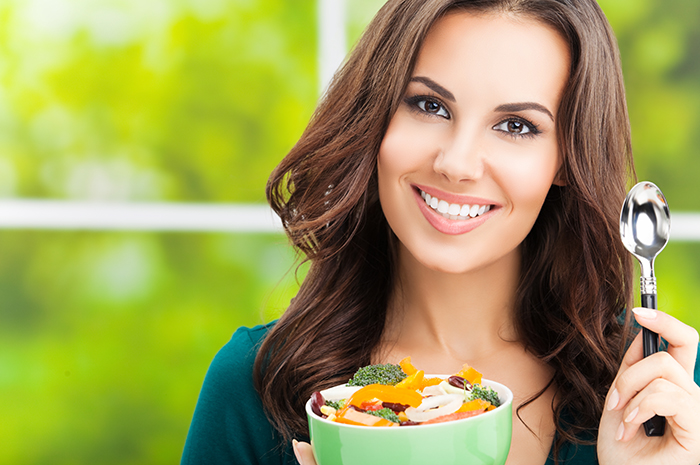 lady eating -salad