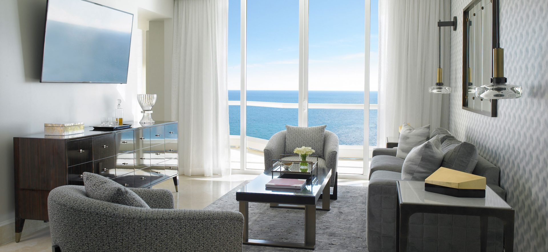 The new Grand Deluxe Three-Bedroom Oceanfront Suite at Acqualina Resort in Sunny Isles Beach, Florida.