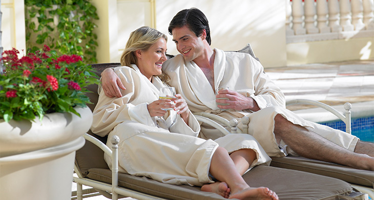 Couple relaxes at Acqualina Resort & Residences in Miami, Florida