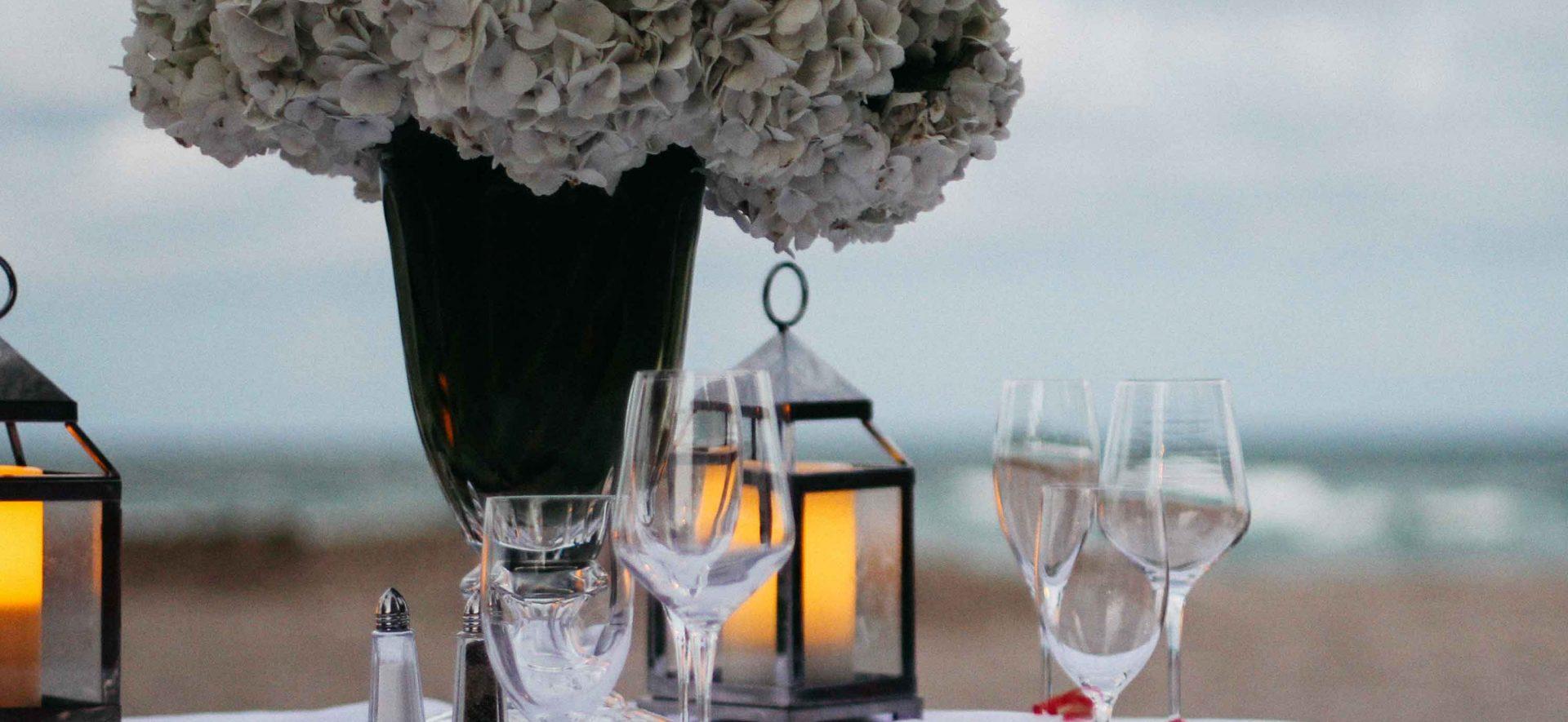 Intimate beachfront dinner at Acqualina Resort & Residences in Miami, Florida